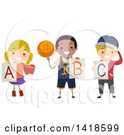Clipart Of A Group Of School Children Holding Alphabet Letters Royalty Free Vector Illustration by BNP Design Studio