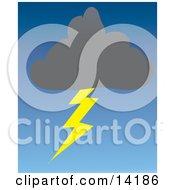 Dark Storm Cloud Striking A Lightning Bolt Clipart Illustration