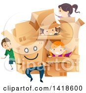 Clipart Of A Group Of Children Playing With Cardboard Boxes Royalty Free Vector Illustration