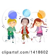 Clipart Of A Group Of Children Dancing With Music Notes And Party Balloons Royalty Free Vector Illustration