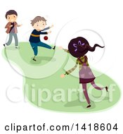 Clipart Of A Group Of Children Playing Dodgeball Royalty Free Vector Illustration by BNP Design Studio