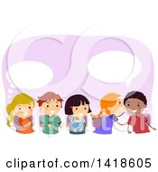 Clipart Of A Group Of School Children Whispering And Passing A Message Royalty Free Vector Illustration