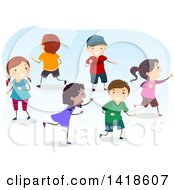 Clipart Of A Group Of Children Playing A Game Of Tag Royalty Free Vector Illustration