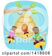 Clipart Of A Group Of Children Flying On Bees To A Hive Royalty Free Vector Illustration