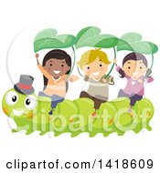 Clipart Of A Group Of Children Riding On A Caterpillar Royalty Free Vector Illustration by BNP Design Studio