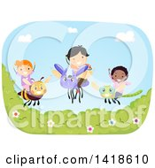 Clipart Of A Group Of Children On Flying Bugs Royalty Free Vector Illustration