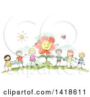 Clipart Of A Group Of Sketched Children Holding Hands By A Flower Royalty Free Vector Illustration