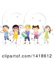 Clipart Of A Group Of Children Playing Musical Instruments Royalty Free Vector Illustration