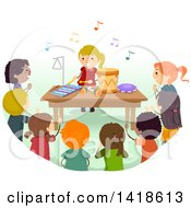 Clipart Of A Group Of Children Watching A Girl Play Musical Instruments In Class Royalty Free Vector Illustration by BNP Design Studio