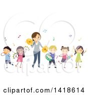 Clipart Of A Teacher And Students Playing Instruments In Music Class Royalty Free Vector Illustration