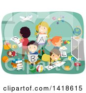 Clipart Of A Group Of Children Writing Out Their Alphabet Letters In Class Royalty Free Vector Illustration