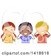 Clipart Of A Group Of Children Covering Their Mouth Ears And Eyes Royalty Free Vector Illustration by BNP Design Studio