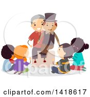 Clipart Of A Group Of Children Sitting Around A Ventriloquist Royalty Free Vector Illustration