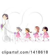 Clipart Of A Line Of Flower Girls Behind A Bride Royalty Free Vector Illustration