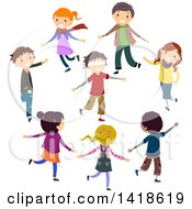 Clipart Of A Group Of Children Playing Marco Polo Royalty Free Vector Illustration