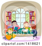 Clipart Of A Group Of Children Reading In A Nook Royalty Free Vector Illustration