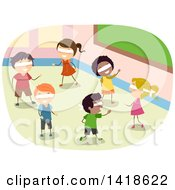 Clipart Of A Group Of School Children Wearing Blindfolds And Playing A Game Royalty Free Vector Illustration