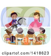 Clipart Of A Class Of School Children Watching A Play Royalty Free Vector Illustration