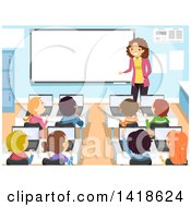Clipart Of A Female Teacher Instructing School Children In A Computer Class Royalty Free Vector Illustration