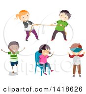 Clipart Of A Group Of Children Playing Parlor Games Royalty Free Vector Illustration