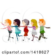 Clipart Of A Group Of Children Playing A Human Train Royalty Free Vector Illustration
