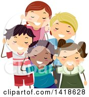Clipart Of A Group Of Children Listening Royalty Free Vector Illustration