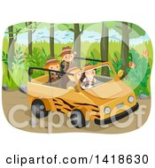 Clipart Of A Group Of Safari Children In A Savari Vehicle Royalty Free Vector Illustration by BNP Design Studio