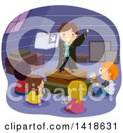 Clipart Of A Group Of Children Around A Boy Telling A Ghost Story In An Attic Royalty Free Vector Illustration
