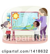 Clipart Of A Female Teacher Instructing School Children On Water Cycles Royalty Free Vector Illustration