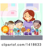 Clipart Of A Female Teacher Instructing School Children On Astronomy Royalty Free Vector Illustration by BNP Design Studio