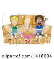 Clipart Of A Group Of Children Sitting On Boxes Of Donations Royalty Free Vector Illustration