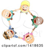 Clipart Of A Circle Of Bald Cancer Patient Children Holding Hands And Looking Up Royalty Free Vector Illustration by BNP Design Studio