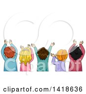 Clipart Of A Rear View Of A Group Of Children Raising Their Arms Royalty Free Vector Illustration