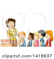 Clipart Of A Female Nurse And Line Of Children Ready For A Vaccine Royalty Free Vector Illustration