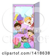 Clipart Of A Group Of Children Welcoming In A Door At A Surprise Party Royalty Free Vector Illustration by BNP Design Studio
