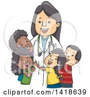 Clipart Of A Happy Female Pediatric Doctor With Children Royalty Free Vector Illustration by BNP Design Studio