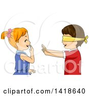 Clipart Of A Blindfolded Boy Reaching Out To A Giggling Girl Royalty Free Vector Illustration by BNP Design Studio