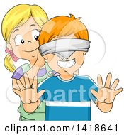 Clipart Of A Girl Putting A Blindfold On A Boy Royalty Free Vector Illustration