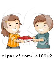Clipart Of A Girl And Boy Exchanging A Book Royalty Free Vector Illustration
