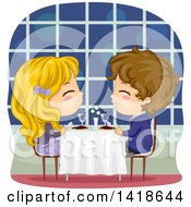 Clipart Of A Boy And Girl Having A Romantic Dinner Royalty Free Vector Illustration by BNP Design Studio