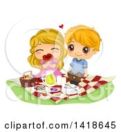 Clipart Of A Cute Kid Couple Enjoying A Romantic Picnic Royalty Free Vector Illustration