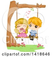 Clipart Of A Kid Couple Swining And Smelling A Flower Royalty Free Vector Illustration by BNP Design Studio