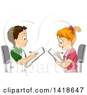 Clipart Of A Boy And Girl Drawing Portraits Of Each Other Royalty Free Vector Illustration