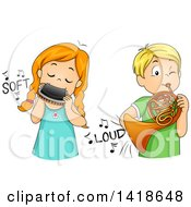 Clipart Of A Girl Softly Playing A Harmonica And Boy Playing A French Horn Loudly Royalty Free Vector Illustration