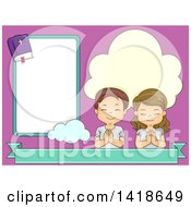 Clipart Of A Boy And Girl Praying Next To A Bible Frame Royalty Free Vector Illustration