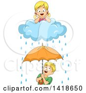 Clipart Of A Girl On A Rain Cloud Over A Boy With An Umbrella Royalty Free Vector Illustration
