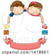 Clipart Of Volunteer Children With Donation Items And A Blank Banner Forming A Frame Royalty Free Vector Illustration