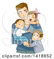 Clipart Of A Loving Caucasian Father And His Three Children Hugging Royalty Free Vector Illustration