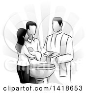 Clipart Of A Grayscale Scene Of A Priest Baptizing A Child Royalty Free Vector Illustration