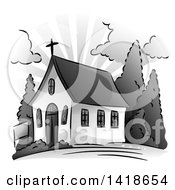 Clipart Of A Grayscale Small Church Building Royalty Free Vector Illustration